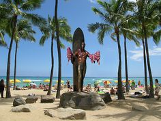 """Duke Paoa Kahanamoku lived from 1890-1968. He was born and raised in Waikiki and was a full-blooded Hawaiian, representing the culture to millions of people. He was an Olympic champion winning three gold, two silver, and one bronze metal in four Olympics between 1912 and 1922. He is known as the Father of International Surfing having introduced the sport to the Eastern seaboard. He is recognized as the """"Hawaiian Ambassador of Aloha"""". During his lifetime, the Duke was a movie actor, political..."""