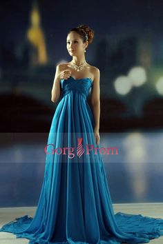 2014 Prom Dresses A Line Empire Waist Sweetheart Chapel Train With Ruffles