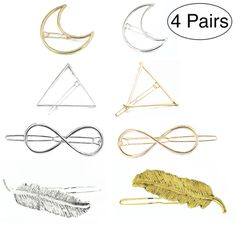 4 Pairs Minimalist Dainty Hair Clips Hairpins Hollow Geometric Alloy Hairpin Clamps Triangle and Moon Multiple Style Prim Decor, Hairpin, Hair Clips, Bobby Pins, Triangle, Minimalist, Hair Accessories, Place Card Holders, Moon