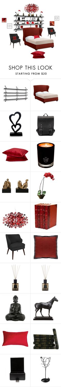 """Black & Red"" by krystalkm-7 ❤ liked on Polyvore featuring interior, interiors, interior design, home, home decor, interior decorating, Gubi, Williams-Sonoma, NOVICA and EB Florals"