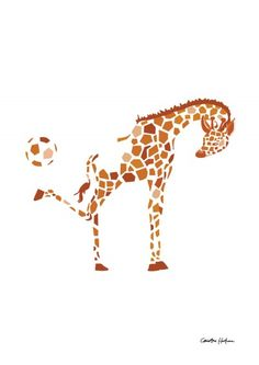 Kicking Giraffe- illustration (A4) Christina Heitmann