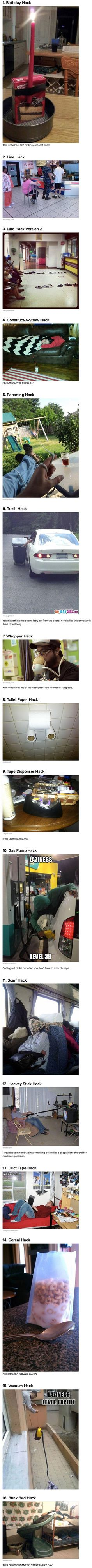 We have rounded up some of the laziest life hacks in the world, captured by geeks.