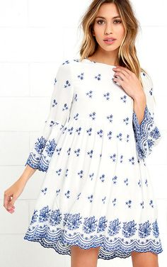 With a Whisper Blue and Ivory Embroidered Dress via @bestchicfashion