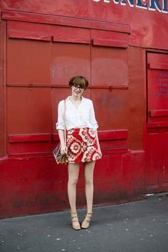 pandora: white shirt and floral skirt