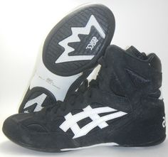 Vintage asics split second 3 wrestling shoes size 8 black white ...