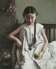 Artist: Zhao Kailin, 2005 {contemporary figurative girl ponytails child painting} Unassured !!