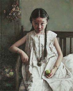 """ZHAO KAILIN.1961, China . Está considerado como uno de los más importantes pintores del realismo chino contemporáneos que trabajan hoy en día. """"Siempre estoy tratando de comunicar no sólo la belleza y la tácita historia personal de estas mujeres, sino también la belleza inherente de la cultura china y la vida""""."""