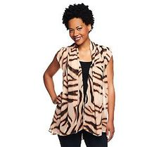 LOGO by Lori Goldstein Zebra Print Vest with Side Pockets