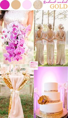 Amazing Radiant Orchid And Gold Wedding Colors