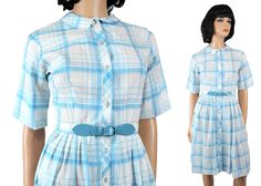 Vintage Shirtwaist Dress XS 60s Blue White Plaid Checkered Rockabilly Costume Free US Shipping by HepCatClothes on Etsy