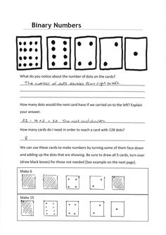 Worksheet: Whole numbers - ABOVE | The Australian Curriculum BINARy numbers for gr 5 and 6.