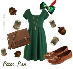 dressfordisney:  An adorable Peter Pan outfit for the ladies. The fabulous Peter Pan bow and hidden kiss necklace are from Etsy, along with a slough of adorable Peter Pan accessories. :)