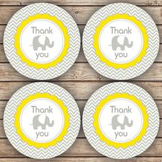 Thank You Yellow and Grey Elephant Baby Shower by spottedpixel