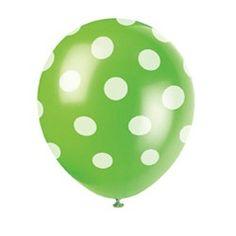 Lime Green Polka Dot Latex Balloons (6 Pack)