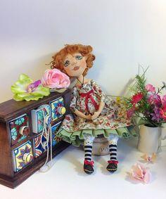 Art doll Cloth doll Cloth art doll Ginger doll Textile dolls Collecting doll Stuff doll Fabric doll Soft doll Rag doll Floral dress doll от NatashaArtDolls