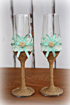 Aqua Blue Wedding Champagne Glasses Bride Groom Flutes Tosting Rustic Country Barn Burlap Lace Bridal Shower Gift Chic on Etsy, $44.95