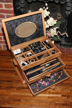 Hand crafted Oak jewellery chest  Black crushed by TouchwoodBoxes, £499.00