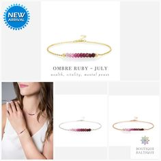 Genuine Ruby Ombre Bracelet in Gold, Rose Gold or Sterling Silver - Personalized Jewelry Gift for Women - July Birthstone - Genuine Ruby Ombre Bracelet in Gold, Rose Gold or Sterling Silver – Personalized Jewelry Gift for - Dainty Gold Jewelry, Ruby Jewelry, Jewelry Gifts, Ruby Bracelet, Gemstone Bracelets, Red Gemstones, July Birthstone, Matching Necklaces, Personalized Jewelry