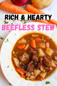 Comforting vegan beefless stew with a rich and savory broth. This stew is hearty, satisfying and delicious and will warm you up on the coldest of days. Easy to make and full of layers of flavor. How to make a vegan stew. How to make a vegan beef stew. Perfect vegan comfort food on a chilly day. Can be made gluten free. #veganstew #vegansoup #beefstew #beeflessstew #veganbeef #seitan #comfortfoods #potatoes www.damntastyvegan.com Delicious Vegan Recipes, Easy Healthy Recipes, Whole Food Recipes, Soup Recipes, Dinner Recipes, Tasty, Fall Recipes, Vegan Beef, Vegan Soups
