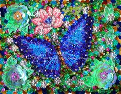 Blue butterfly bead embroidery, sequined jeweled. Handwork. by AmeynraArtGallery on Etsy https://www.etsy.com/listing/450999928/blue-butterfly-bead-embroidery-sequined