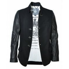 Bolongaro Trevor Raw Ziggy Jacket Black with leather sleeves. The Man, Outfit Of The Day, Gentleman, Bomber Jacket, Menswear, Blazer, Leather Sleeves, Black Jackets, Sweaters