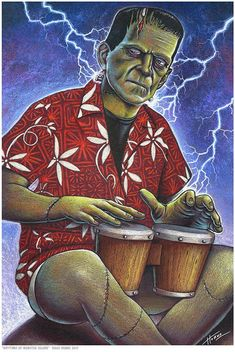 This Doug Horne limited edition art print Little shop of bongo is just one of the custom, handmade pieces you'll find in our prints shops. Halloween Art, Halloween Themes, Scary Haunted House, Tiki Decor, Monster Art, Horror Art, Frankenstein, Limited Edition Prints, Art Sketches
