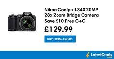 Nikon Coolpix L340 20MP 28x Zoom Bridge Camera Save £10 Free C+C, £129.99 at Argos