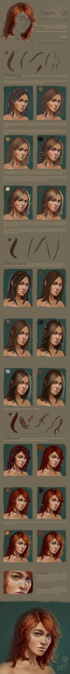 Digital Hair / Portrait Painting Tutorial part 2 by me-illuminated.deviantart.com on @deviantART