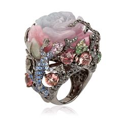 Fantasie Dusty Rose Ring Created in 18ct white gold, brown diamond, black diamond, sapphire, green garnet, purple jade and tourmaline, this one of a kind ring will look beautiful with any day or evening outfit.