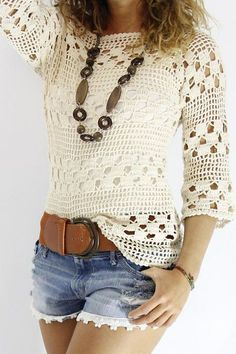 Blusa blanca tejida a crochet blusas Blusa blanca tejida a crochet - Patrones gratis Débardeurs Au Crochet, Poncho Crochet, Pull Crochet, Mode Crochet, Crochet Shirt, Crochet Woman, Crochet Tops, Crochet Gratis, Irish Crochet