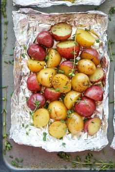 Easy Potatoes in Foil - You won't believe how easy it is to make potatoes right in foil - simply cut, wrap in foil and bake. Easy clean-up and just so good!