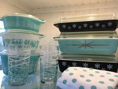 Pyrex; turquoise starburst, butterprint & black snowflake ❄️❄️❄️
