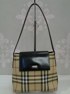 "Super cute bag! Brand:Burberry  Size  small Measuring 8"" H X 4"" D X 9"" L Strap drop: 9 1/2"" L  Color:Tan/Check/ Black  Material:Canvas & Leather  Style # T-02-02  http://www.ebay.com/itm/151571575430?ssPageName=STRK:MESELX:IT&_trksid=p3984.m1555.l2649"