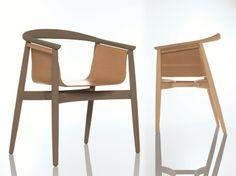 Sedia in legno con braccioli PELLE by ZEITRAUM | design Lorenz*Kaz