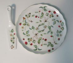 Vintage James Kent Old Foley Strawberry & Butterfly Cake Platter & Server Plate #JamesKentLtd