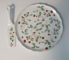 Vintage James Kent Old Foley Strawberry & Butterfly Cake Platter & Server Plate #JamesKentLtd