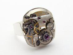 Steampunk Ring rare Gruen watch movement silver gears purple amethyst Swarovski crystal jewelry  #SteampunkRing #SteampunkJewelry #SteampunkJewelrybyMariaSparks