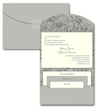 Silver & Gray Wedding Invitations by InvitationConsultants.com