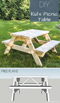 Kids Wooden Picnic Table, Toddler Picnic Table, Kids Picnic Table Plans, Kids Outdoor Table, Pallet Picnic Tables, Diy Picnic Table, Kids Bench, Diy Table, Kids Outdoor Furniture