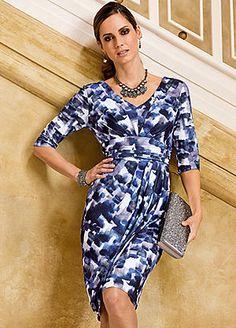 Together Three-Quarter Sleeve Print Dress