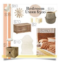 """""""#bedroomunder500"""" by bethfrench ❤ liked on Polyvore featuring interior, interiors, interior design, home, home decor, interior decorating, Amira, Umbra, bedroom and Pamela"""