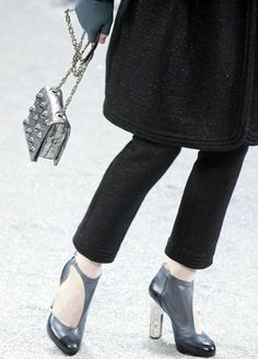The two-faced shoes at Chanel — from one side they looked like T-straps, from the other they're booties