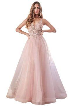 Prom Dresses Long Pink, Pretty Prom Dresses, Prom Dresses Online, Cute Dresses, Blush Prom Dress, Pink Dresses, Tulle Dress, Lace Dress, Lace Ruffle