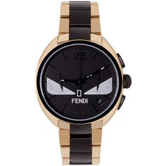 Fendi Gold and Black Momento Bugs Watch ($1,835) ❤ liked on Polyvore featuring jewelry, watches, gold black, stainless steel jewelry, chronograph black dial watch, polish jewelry, stainless steel watches and chronograph watch