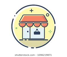 shop icon design illustration,line filled style design, designed for web and app