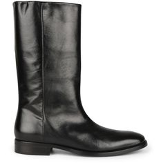 Saint Laurent Shiny Leather Boots (€995) ❤ liked on Polyvore featuring shoes, boots, short heel boots, polish shoes, leather sole boots, low heel shoes and genuine leather boots