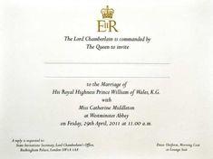 Royal Wedding invitation Prince William