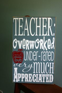 TEACHER gift typography word art by gingerleighmade on Etsy