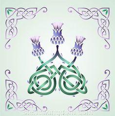 Celtic Three Thistles Stencil Designs from Stencil Kingdom Celtic Quilt, Celtic Symbols, Celtic Art, Celtic Knots, Celtic Dragon, Mayan Symbols, Egyptian Symbols, Ancient Symbols, Thistle Tattoo