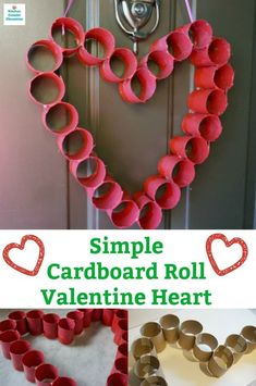 Make a simple cardboard roll Valentine Heart for your front door. A fun craft project for kids to make. Diy Valentine's Gifts For Kids, Craft Projects For Kids, Craft Activities For Kids, Kids Crafts, Art Projects, Valentine Crafts For Kids, Valentines Day Activities, Valentine Heart, Valentine Stuff